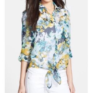 Kut From The Kloth Tie Front Watercolor Blouse